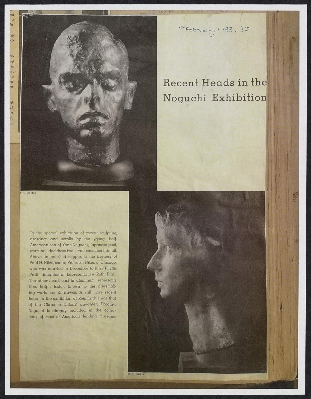"""""""Recent Heads in the Noguchi Exhibition."""" (1 February 1933)."""