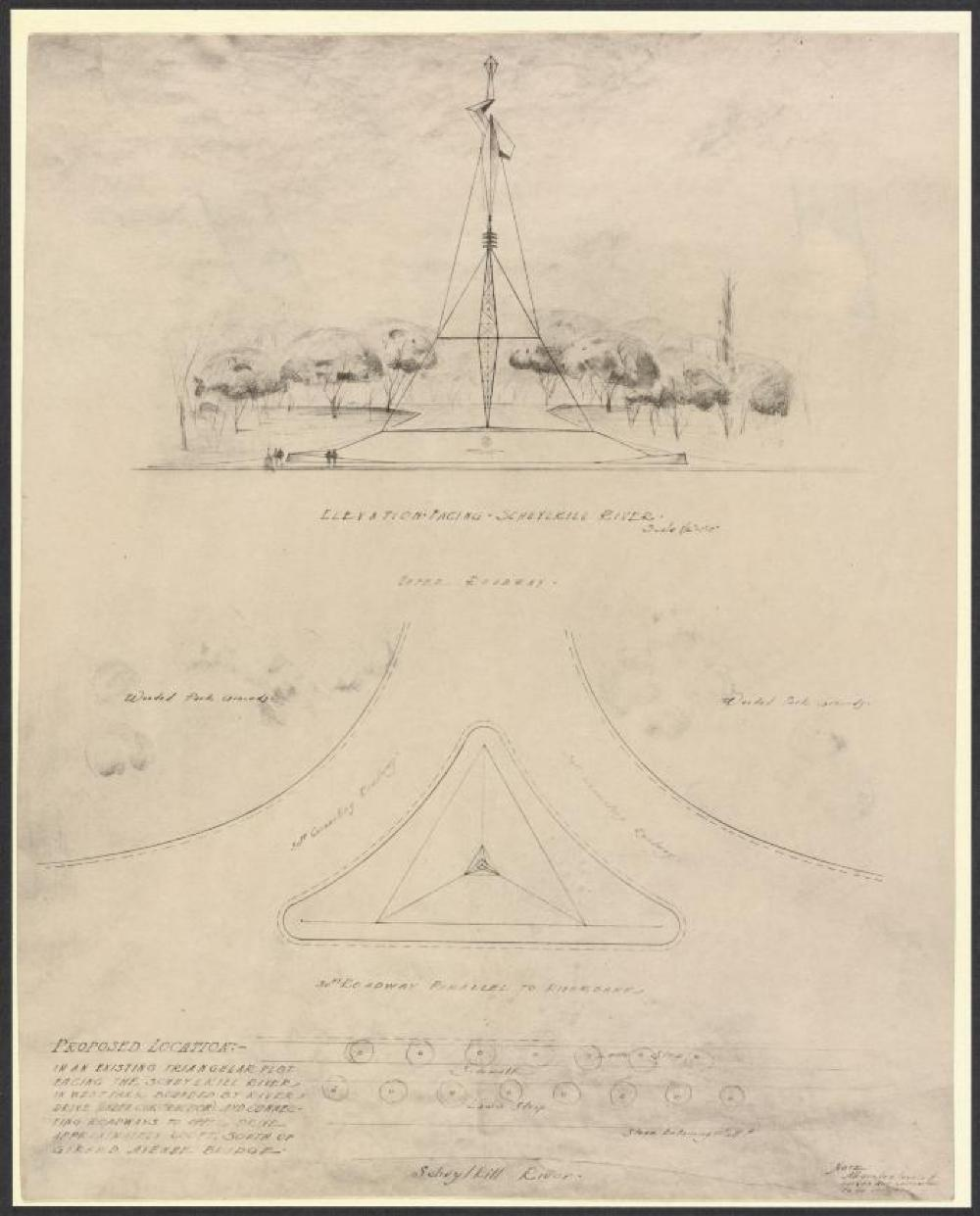 Original proposal of Monument to Ben Franklin