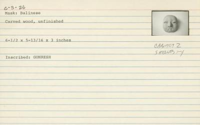 Catalog Card for Balinese; Topeng Bondres Mask; 20th century; Wood; 6 1/2 x 5 13/16 x 3 in.; Collection of Isamu Noguchi. (Study Collection; Collectibles, C-S-26)