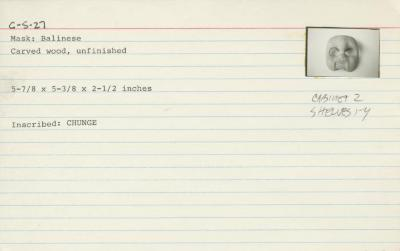 Catalog Card for Balinese; Topeng Bondres Mask; 20th century; Wood; 5 7/8 x 5 3/8 x 2 1/2 in.; Collection of Isamu Noguchi. (Study Collection; Collectibles, C-S-27)