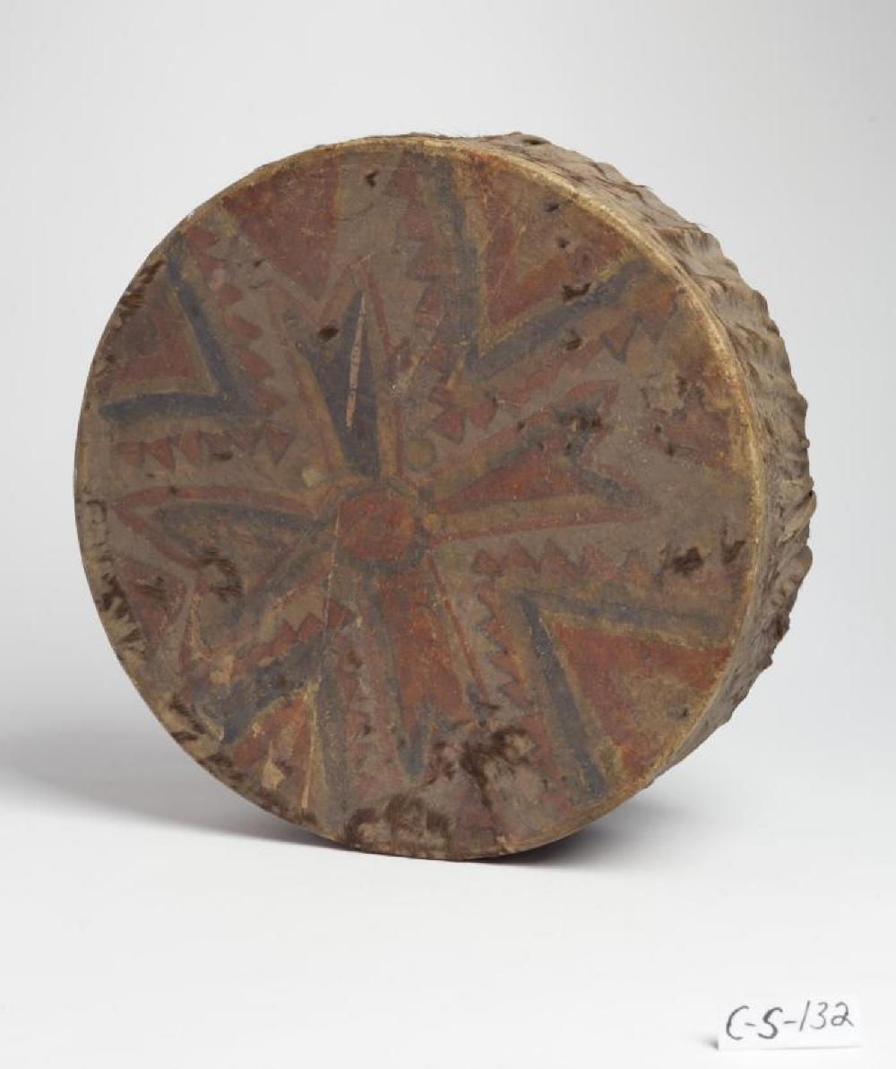 Native American; Drum; Hide, wood; 4 1/2 x 14 1/8 in. diameter; Collection of Isamu Noguchi. (Study Collection; Collectibles, C-S-132)