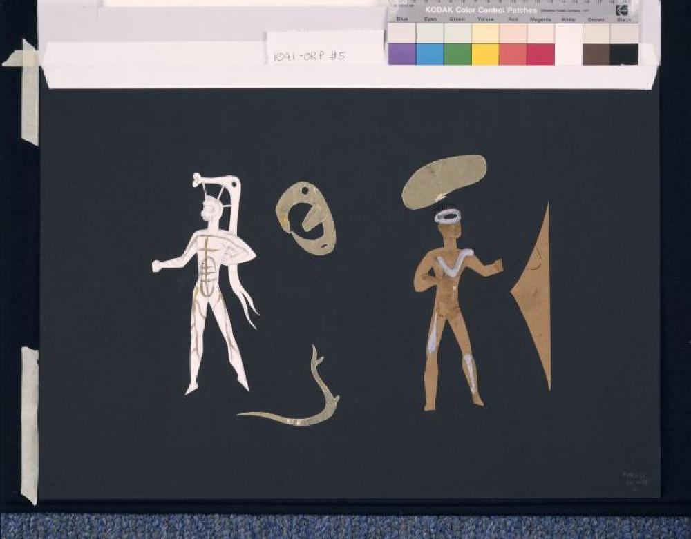 """Costume and set study for """"Orpheus"""" (2 male figures, 4 elements)"""