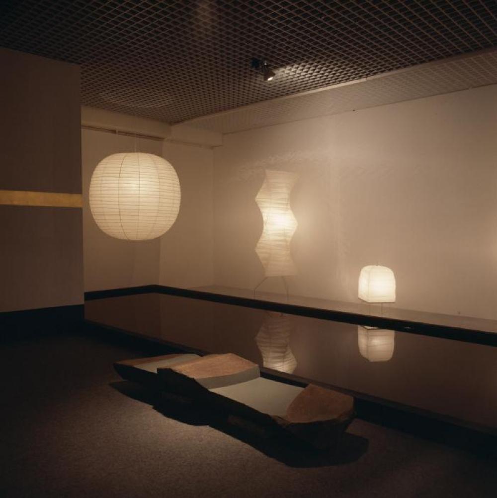 """Space of Akari & Stone,"" Seibu Museum of Art, February 9, 1985 - February 20, 1985."