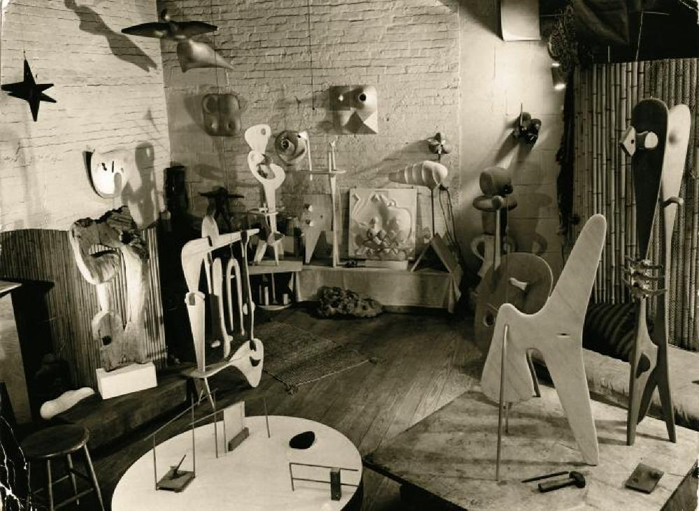 Works in Isamu Noguchi's MacDougal Alley Studio, including My Pacific, Floating Lunar, My Arizona, Structure, The World is a Foxhole, Contoured Playground, The Mountain, Musical Weathervane, The Queen, Read Lunar Fist, and others