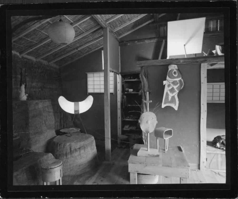 Interior of Isamu Noguchi's Kamakura studio with Akari and sculptures My Mu, and other works