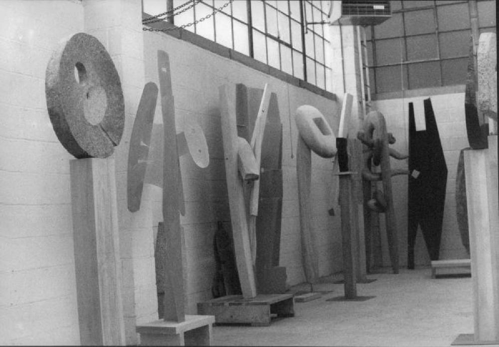Sculptures at Isamu Noguchi's 10th Street Studio, including Variation of a Millstone, Soliloquy, Victim, Cronos, and others