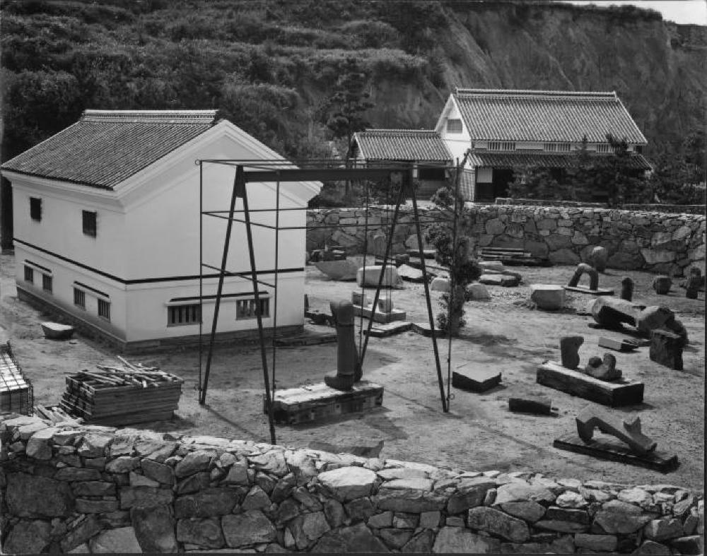 The yard, kura and living space at Isamu Noguchi's studio in Mure, Japan