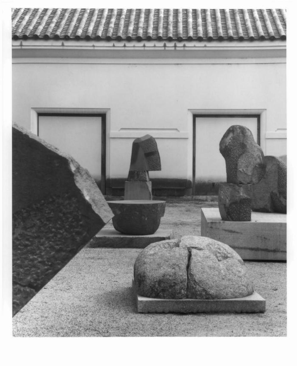 Sculptures in the work yard at Isamu Noguchi's studio in Mure, Japan (including CR# 1137, 1161)