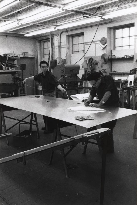 Isamu Noguchi working with Shoji Sadao at Edison Price Workshop
