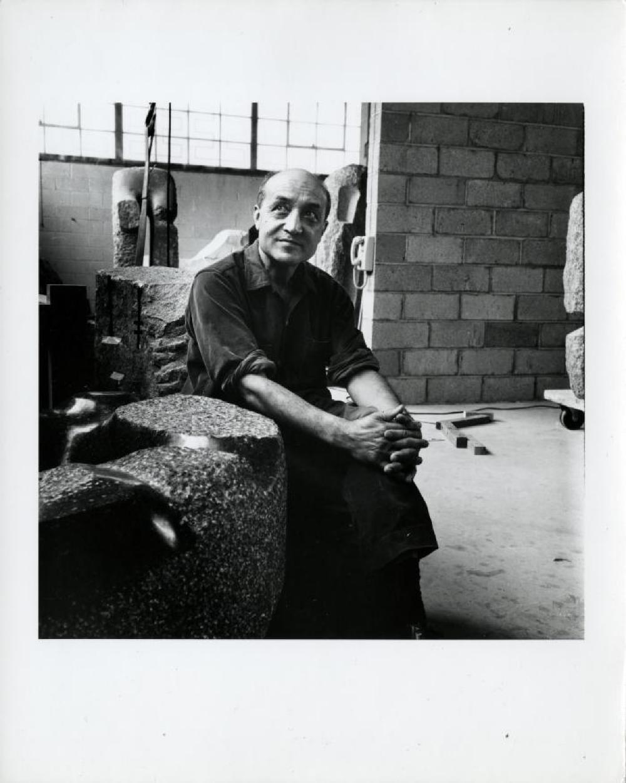 Isamu Noguchi in Long Island City studio with works