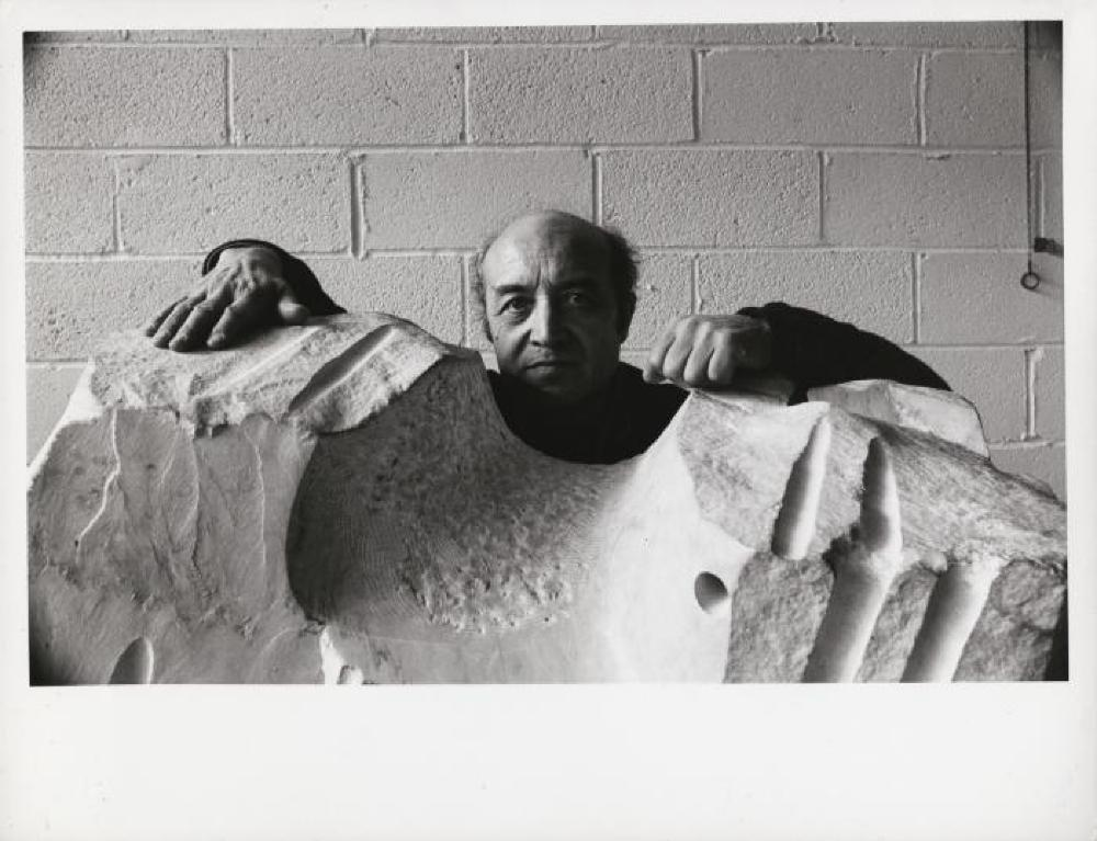Isamu Noguchi with The Roar in his Long Island City studio