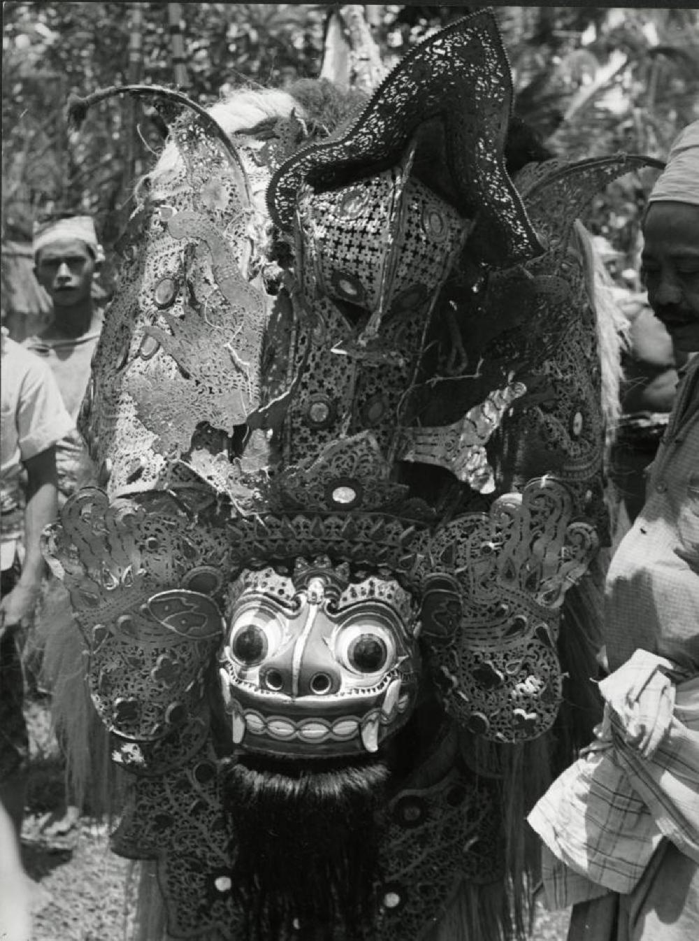 Bollingen travels: Barong performer with Barong Ket mask in Batubulan, Bali, Indonesia, 1950–53