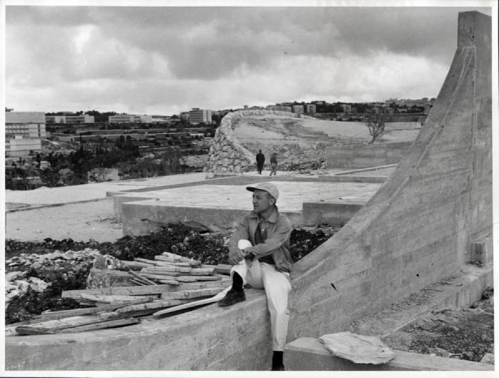 Isamu Noguchi at the construction of the Billy Rose Sculpture Garden