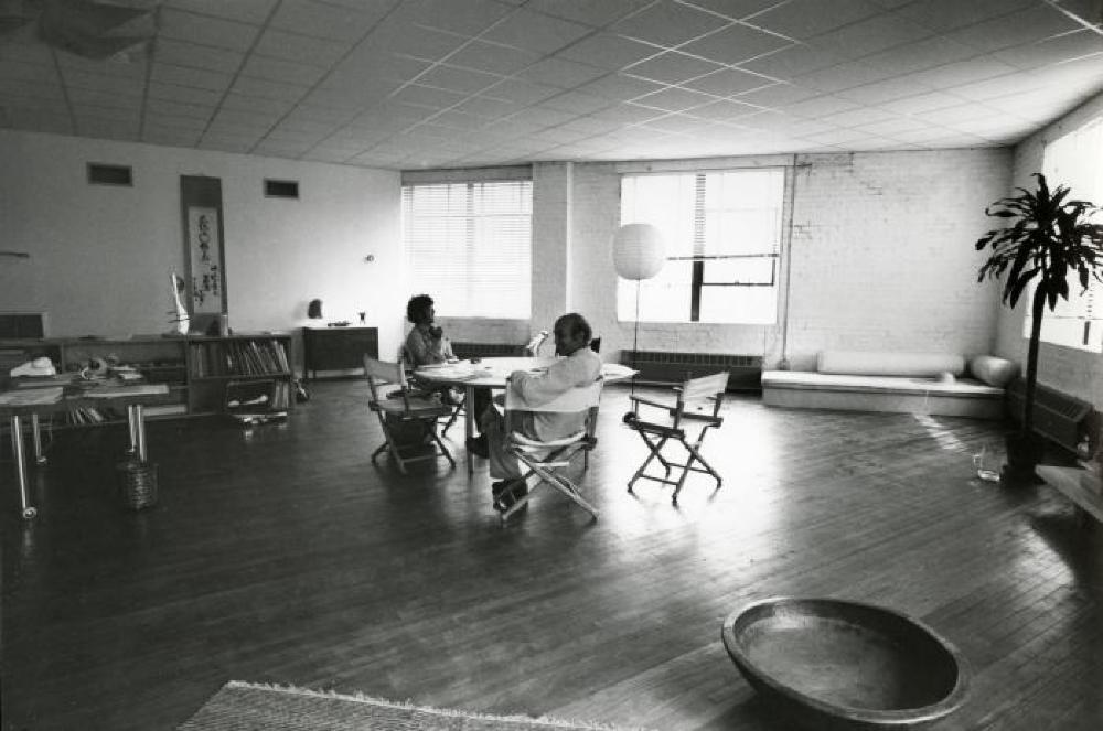 Isamu Noguchi with Ikeda Masuo at the Vernon Blvd. warehouse in Long Island City