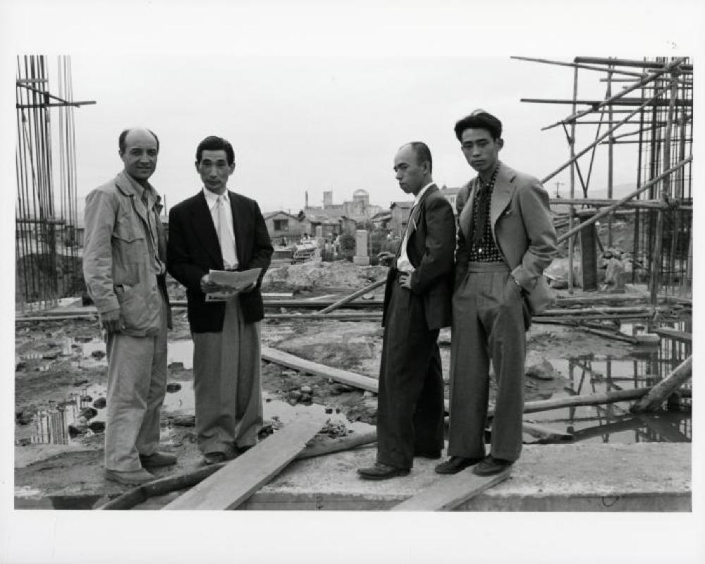 Isamu Noguchi, Kenzo Tange, unknown friend, Michio Noguchi [left to right], Hiroshima