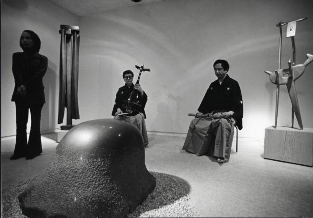 """Isamu Noguchi,"" Minami Gallery, May 14, 1973 - June 9, 1973. Toru Takemitsu standing at left"