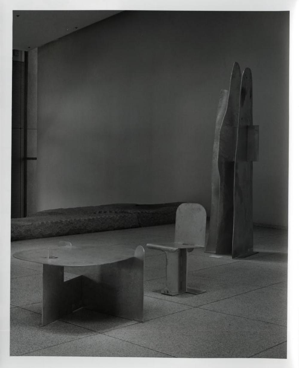 """Isamu Noguchi: Steel Sculptures,"" Sogetsu Plaza (April, 1984), ""Rain Mountain,"" ""Pierced Table"" and ""Pierced Seat""."
