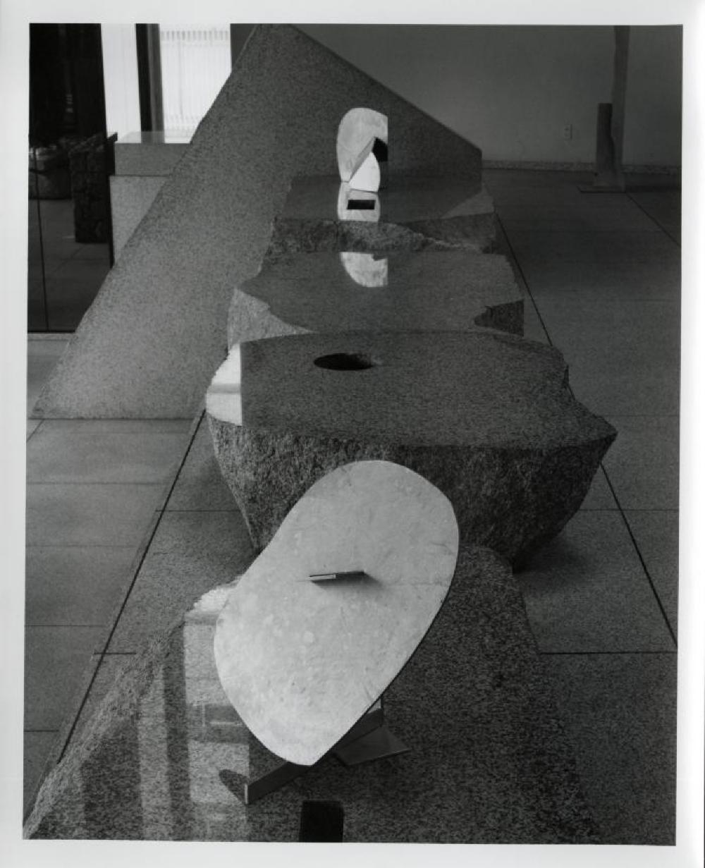 """""""Isamu Noguchi: Steel Sculptures,"""" Sogetsu Plaza (April, 1984), """"Sparrow"""" and """"Tongue""""."""