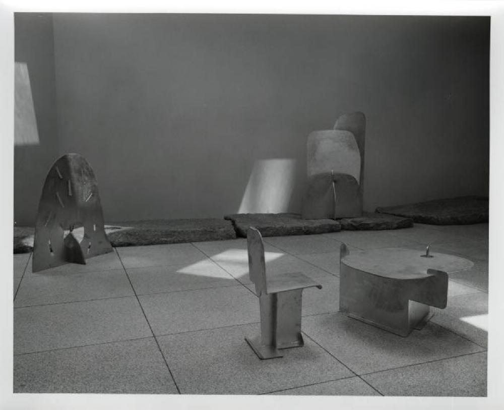 """""""Isamu Noguchi: Steel Sculptures,"""" Sogetsu Plaza (April, 1984), """"Atomic Haystack,"""" """"Pierced Table,"""" """"Pierced Seat"""" and """"Cloud Mountain""""."""