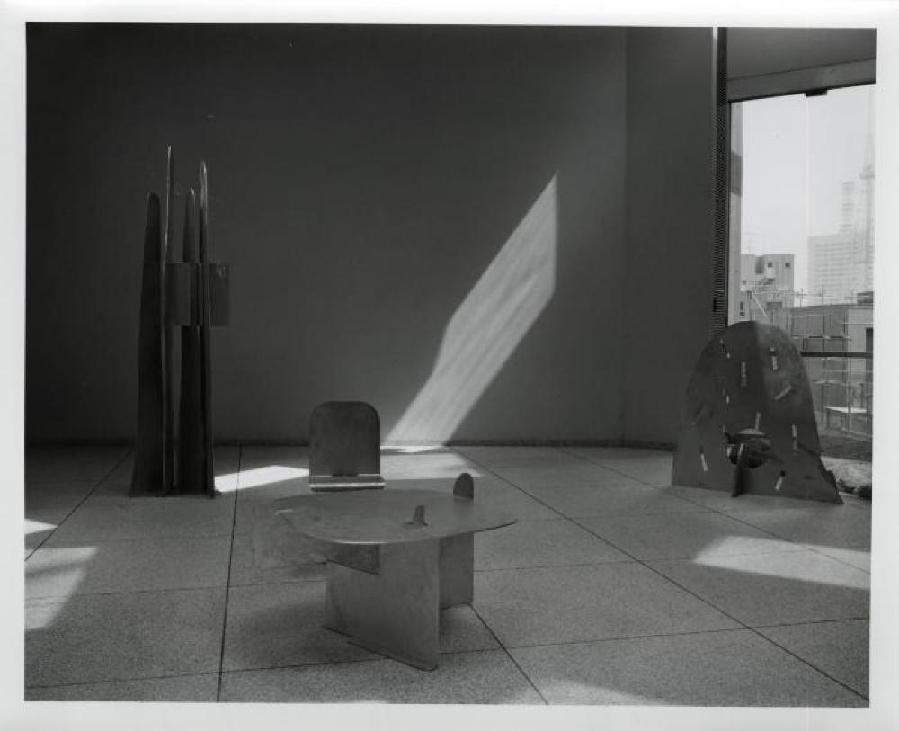 """Isamu Noguchi: Steel Sculptures,"" Sogetsu Plaza (April, 1984), ""Rain Mountain,"" ""Pierced Table,"" ""Pierced Seat"" and ""Atomic Haystack""."