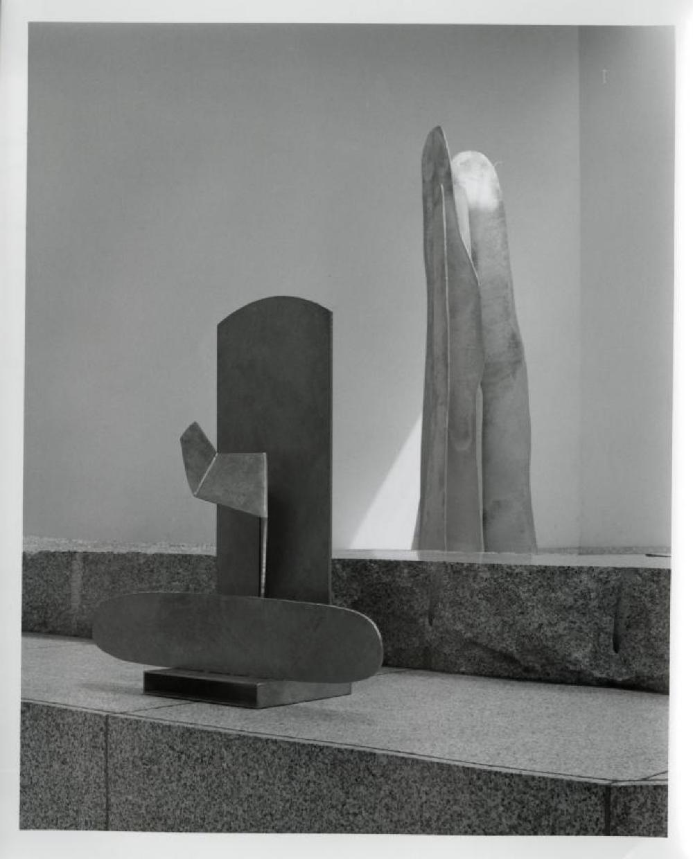 """Isamu Noguchi: Steel Sculptures,"" Sogetsu Plaza (April, 1984), ""Zazen"" and ""Rain Mountain""."