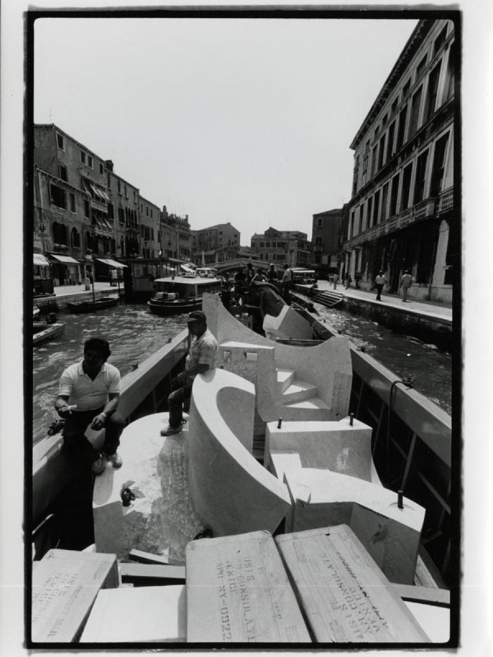 "Slide Mantra in a gondola, ""Isamu Noguchi:  What is Sculpture?,"" 1986 Venice Biennale, June 29, 1986 - September 28, 1986."