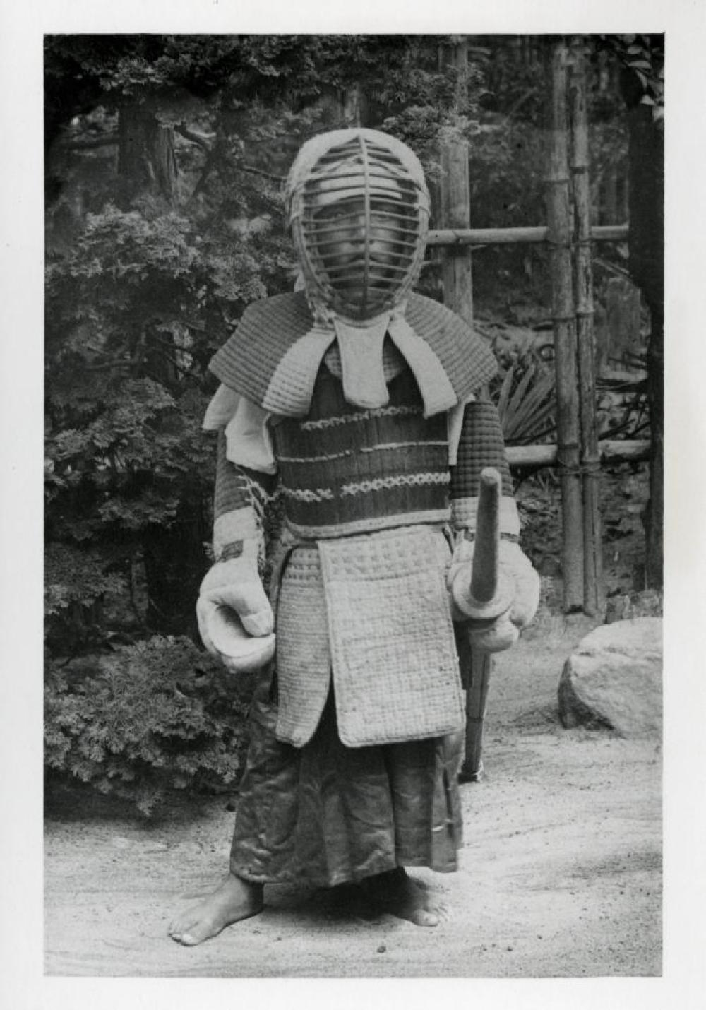 Isamu Noguchi as a child in Japan, wearing Japanese fencing (Kendo) gear