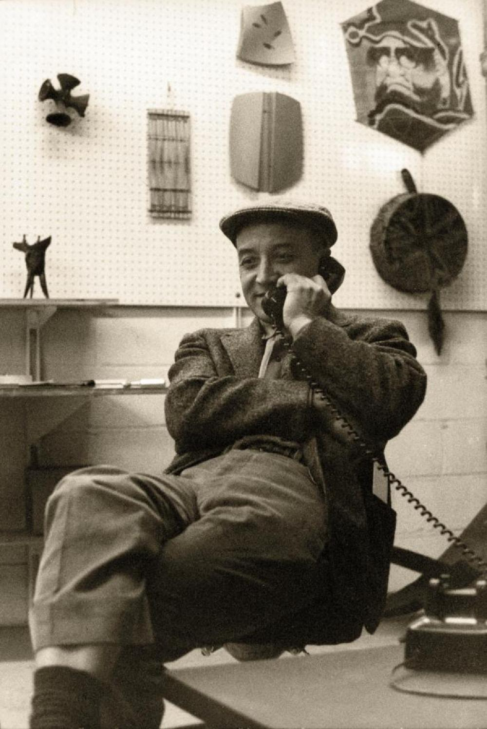Isamu Noguchi at his Long Island City studio