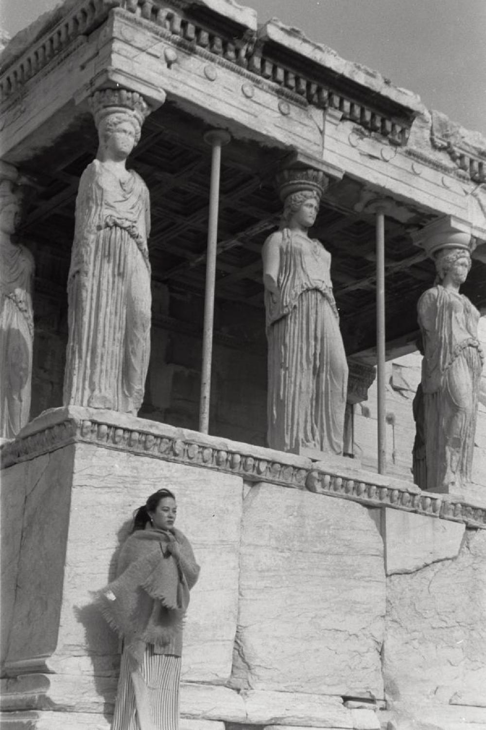 """Yoshiko """"Shirley"""" Yamaguchi in front of the Porch of the Caryatids, Erechtheion, Acropolis, Athens, Greece"""