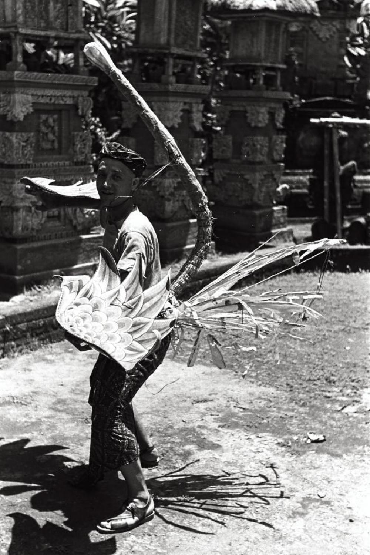 Isamu Noguchi dressed as the Garuda bird in Bali, Indonesia