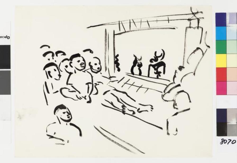 Bollingen drawing of Wayang Kulit in Indonesia, c. 1950–53