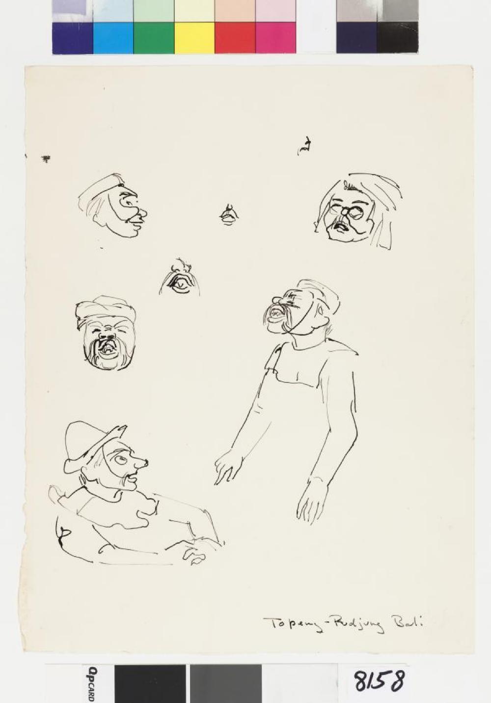 Isamu Noguchi, Bollingen drawing of Topeng performers in Bali, Indonesia, 1950–53