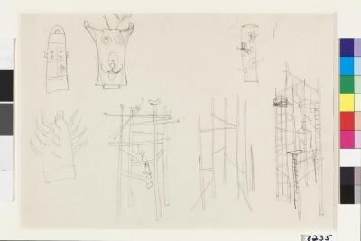 """7 Ideas for Sculpture including """"Bell Tower for Hiroshima"""", ca. 1950"""