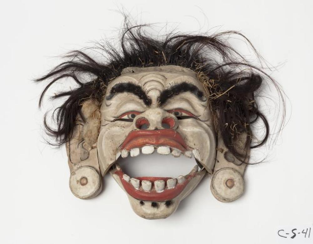Balinese; Leyak Mask; 20th century; Painted wood, hair, leather; 10 1/8 x 10 3/4 x 3 3/4 in.; Collection of Isamu Noguchi. (Study Collection; Collectibles, C-S-41)