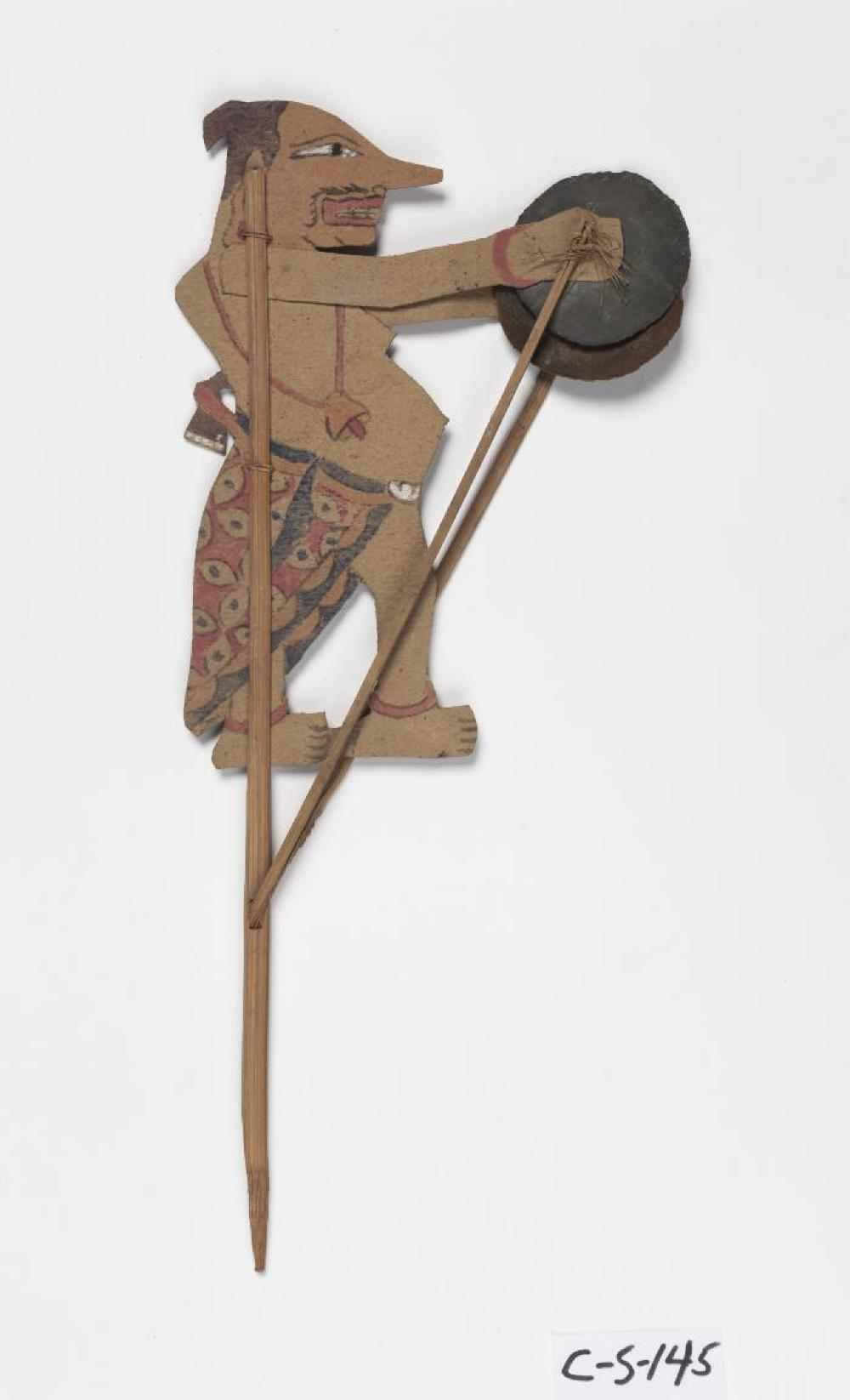 Javanese; Wayang Kulit Shadow Puppet (Petruk); 20th century; Paper, wood, tin; 15 1/8 x 6 5/8 x 1/8 in.; Collection of Isamu Noguchi. (Study Collection; Collectibles, C-S-145)