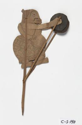 Javanese; Wayang Kulit Shadow Puppet (Bagong); 20th century; Leather, wood, metal; 14 x 8 x 1/8 in.; Collection of Isamu Noguchi. (Study Collection; Collectibles, C-S-140)