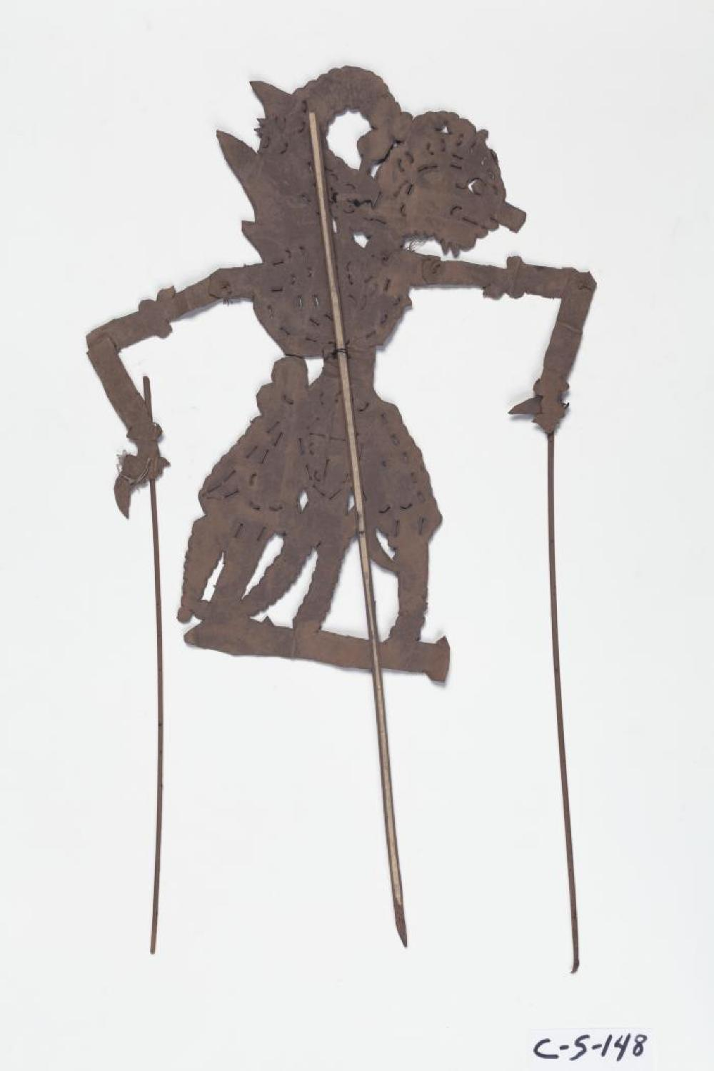 Javanese; Wayang Kulit Shadow Puppet (Gatotkaca); 20th century; Paper, wood; 15 7/8 x 4 7/8 x 1/8 in.; Collection of Isamu Noguchi. (Study Collection; Collectibles, C-S-148)
