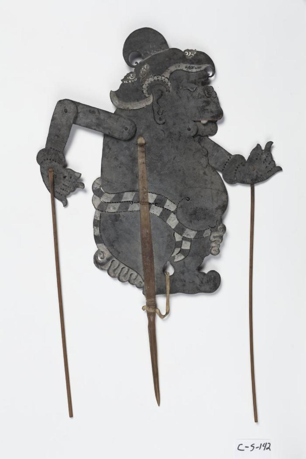 Balinese; Wayang Kulit Shadow Puppet (Twalen); 20th century; Leather, wood; 21 1/4 x 8 x 1/8 in.; Collection of Isamu Noguchi. (Study Collection; Collectibles, C-S-142)