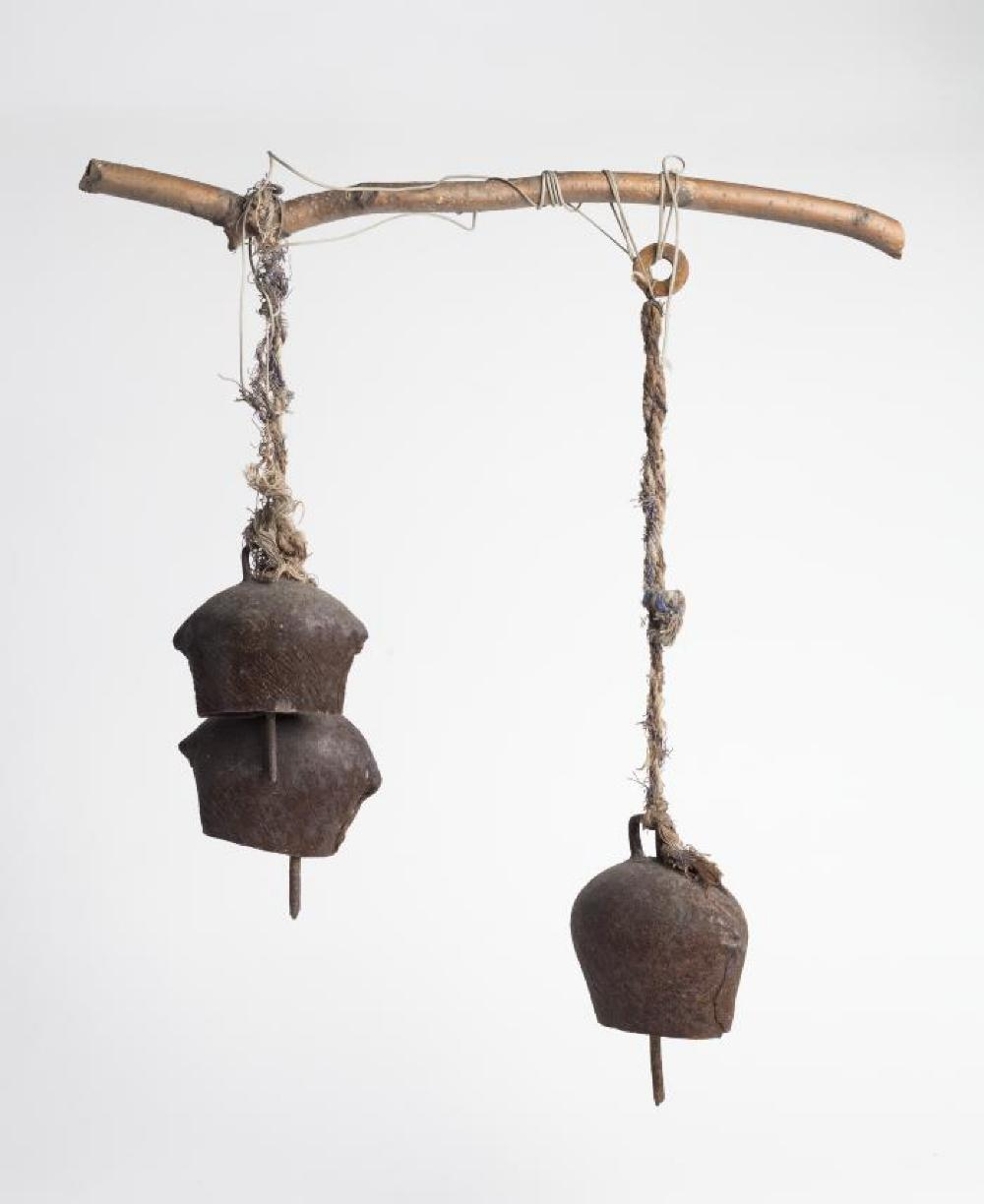 Hanging Bells; Metal, twine, wood; Collection of Isamu Noguchi. (Study Collection; Collectibles)