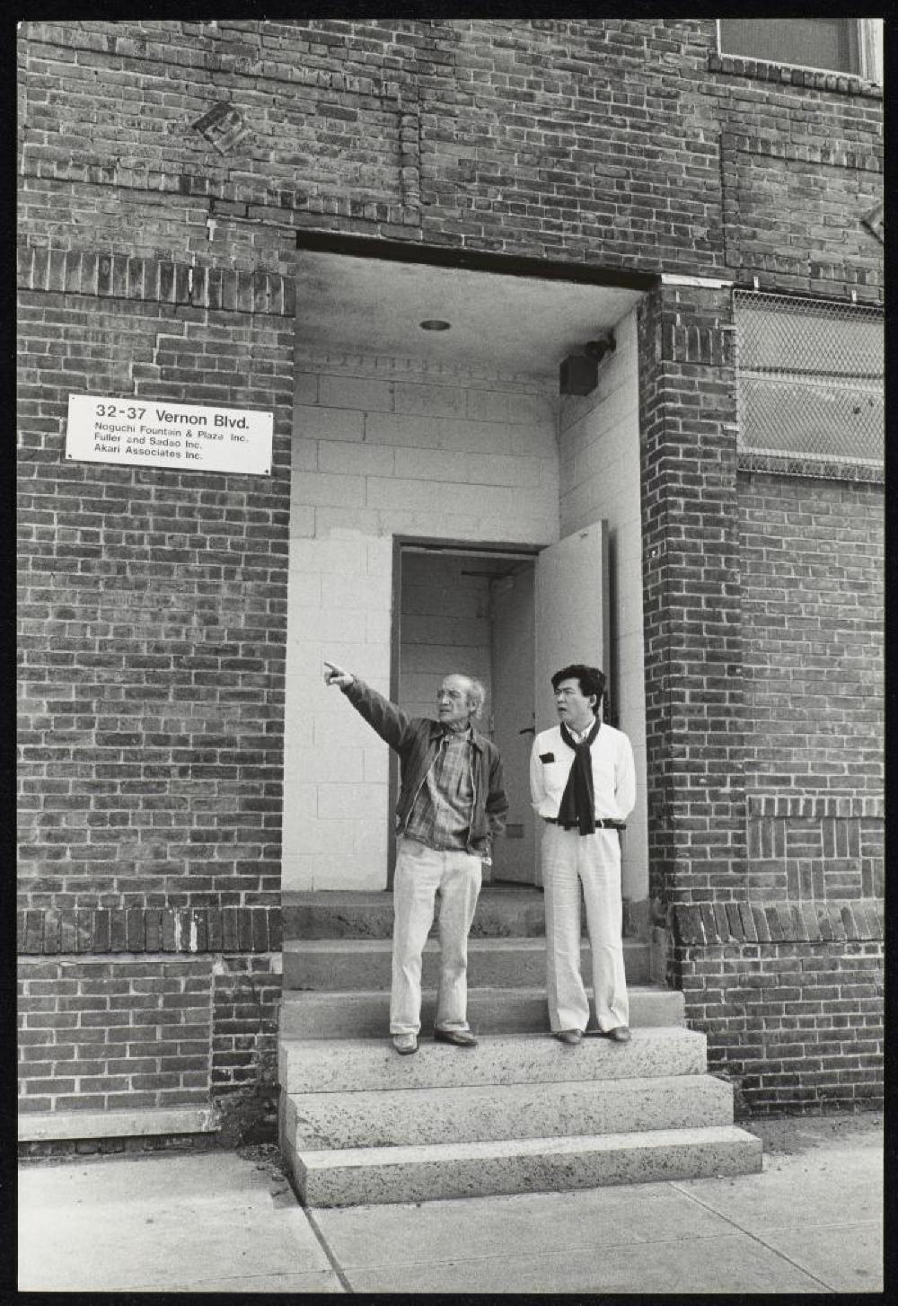 Isamu Noguchi with Shusaku Arakawa in Long Island City