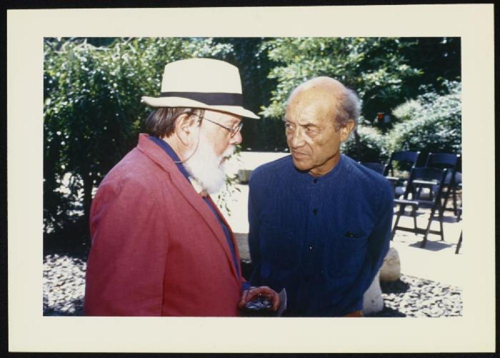 Noguchi with Henry Geldzahler at the Press Conference for the 1986 Venice Biennale, American Pavilion (Sponsored by Philip Morris), at the Isamu Noguchi Garden Museum