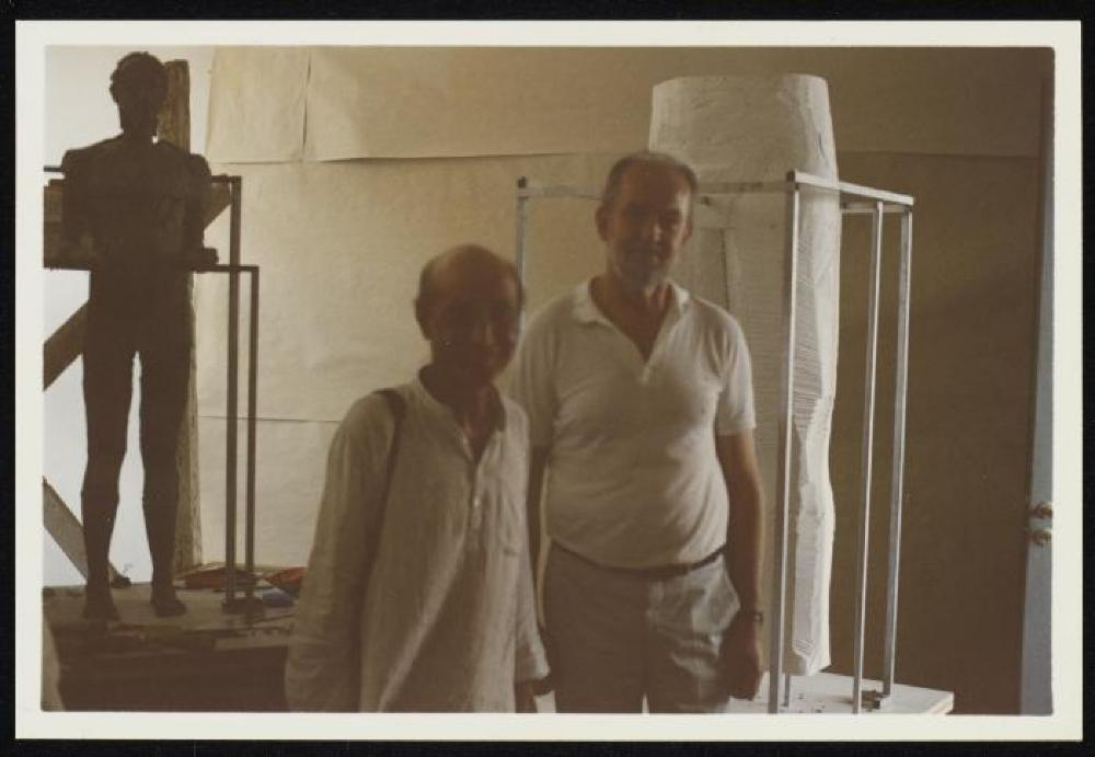 Isamu Noguchi and sculptor Dimitris Kalamaras in the latter's workshop in Athens, Greece