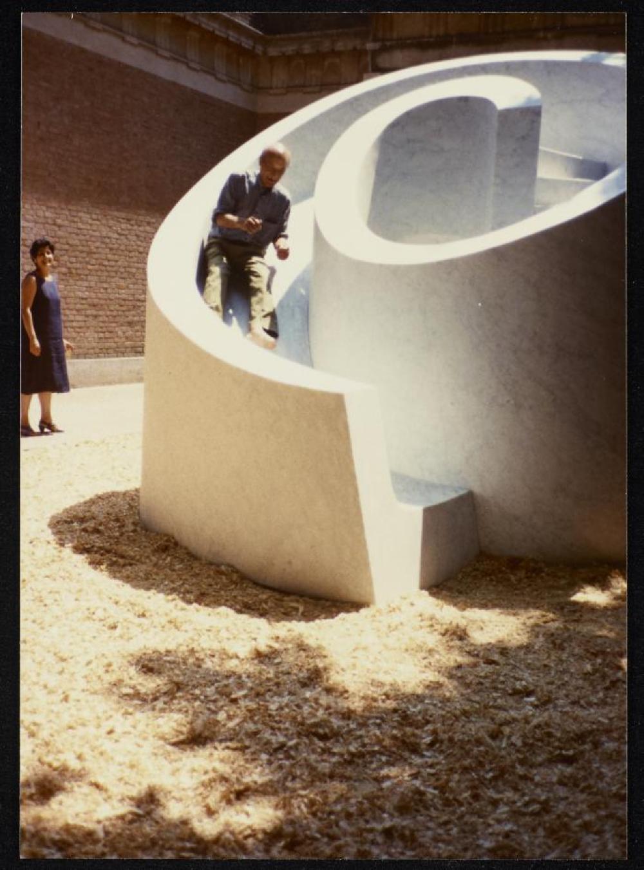 Venice Biennale exhibit; Isamu Noguchi tests his Slide Mantra at the 1986 Venice Biennale