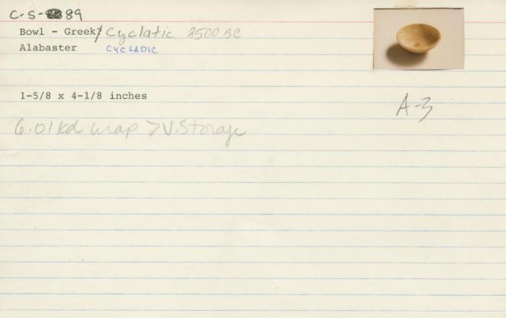 Catalog Card for Cycladic; Bowl; Early Cycladic II, 2700—2200 BCE; Marble; 1 5/8 x 4 1/8 in.; Collection of Isamu Noguchi. (Study Collection; Collectibles, C-S-89)
