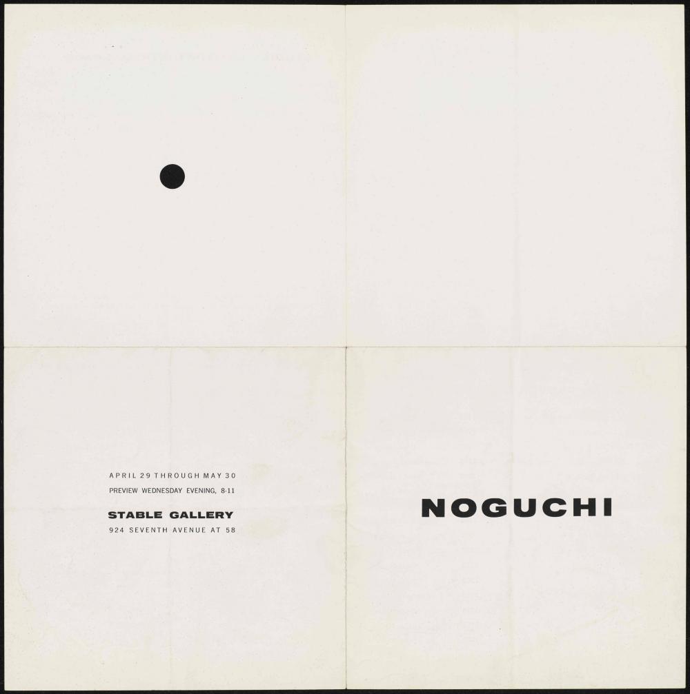 """Isamu Noguchi."" Exhibition pamphlet. New York: Stable Gallery, 1959."