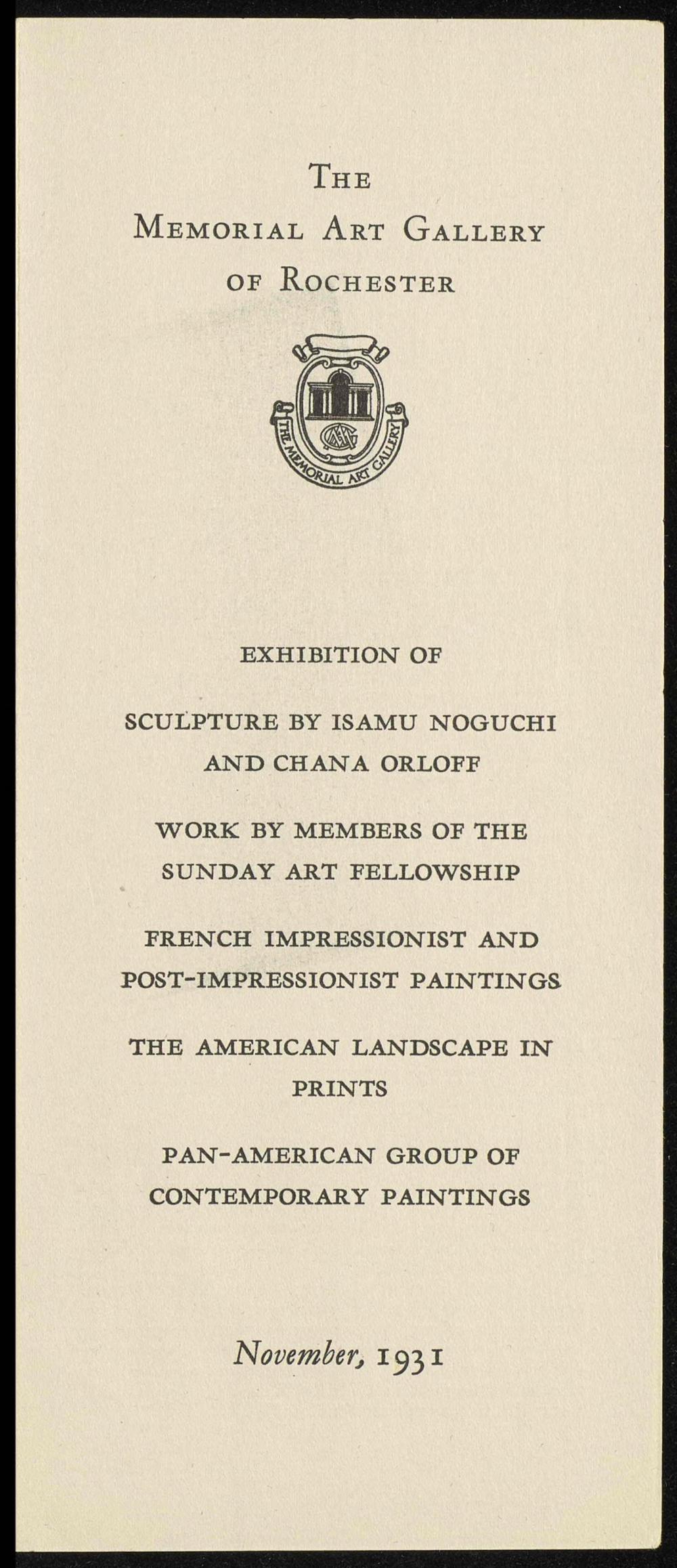 The Memorial Art Gallery of Rochester exhibition catalog